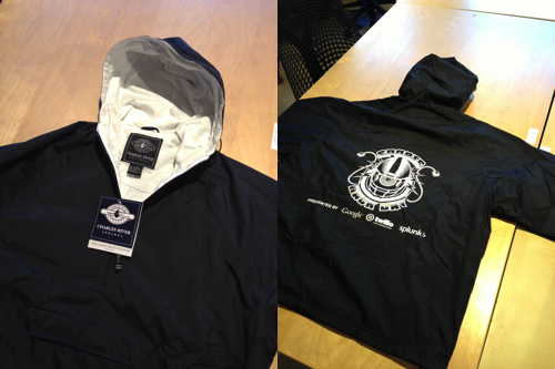 The official #SportsHackDay jackets just arrived! Cotton-lined and water resistant. Best hackathon swag ever?