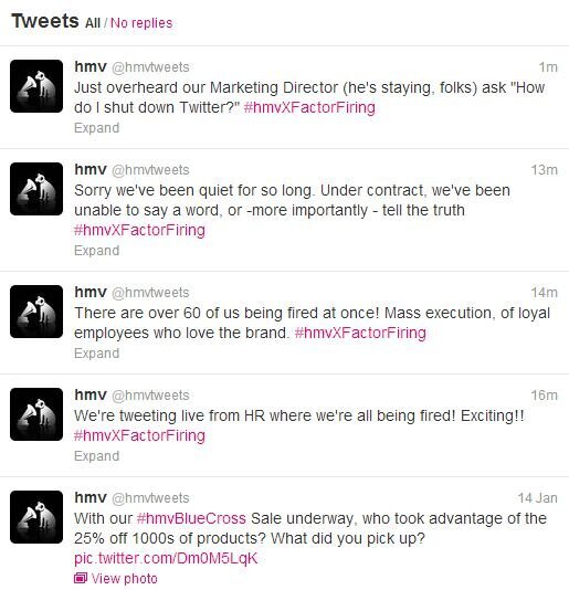 ... on Twitter: HMV Social Media Manager Live-Tweets Layoffs [Updated