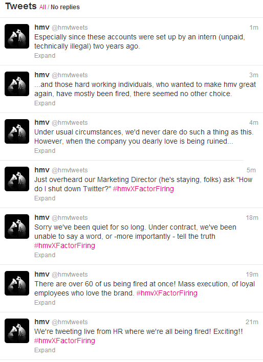 Oops RT @thenativepaul: If you just tuned in to #hmvXFactorFiring. Here are the @hmvtweets  that got deleted. http://pic.twitter.com/jxGvN0k6