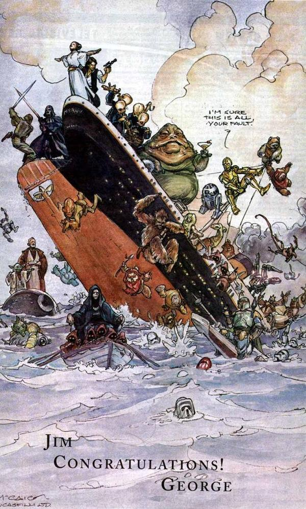 This Variety ad, from George Lucas to James Cameron when Titanic topped SW, hangs in my office. Art by Iain McCaig. http://pic.twitter.com/6yI0uvhq