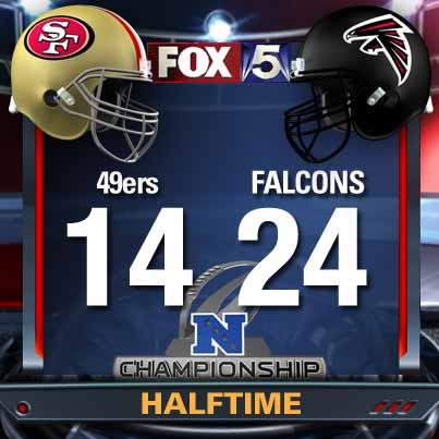 RT @FOX5Atlanta: Falcons have a 10-point lead over 49ers going into Halftime. What are your predictions for the final? #falconsonFOX http://pic.twitter.com/5PTFec62