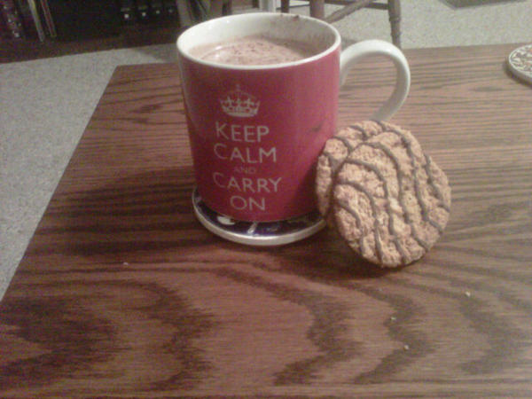 My #DowntonPBS snack.  Inside the mug is hot chocolate. http://pic.twitter.com/mlmBHP0H