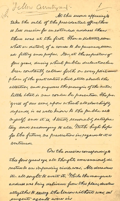 Lincoln's handwritten second Inaugural address, 1865: http://t.co/LXJA1nq5