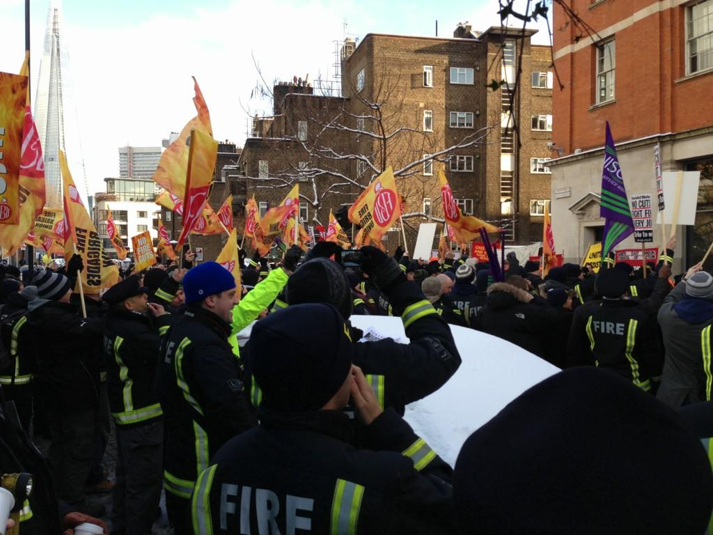 FBU protest against cuts to London fire service 21st January
