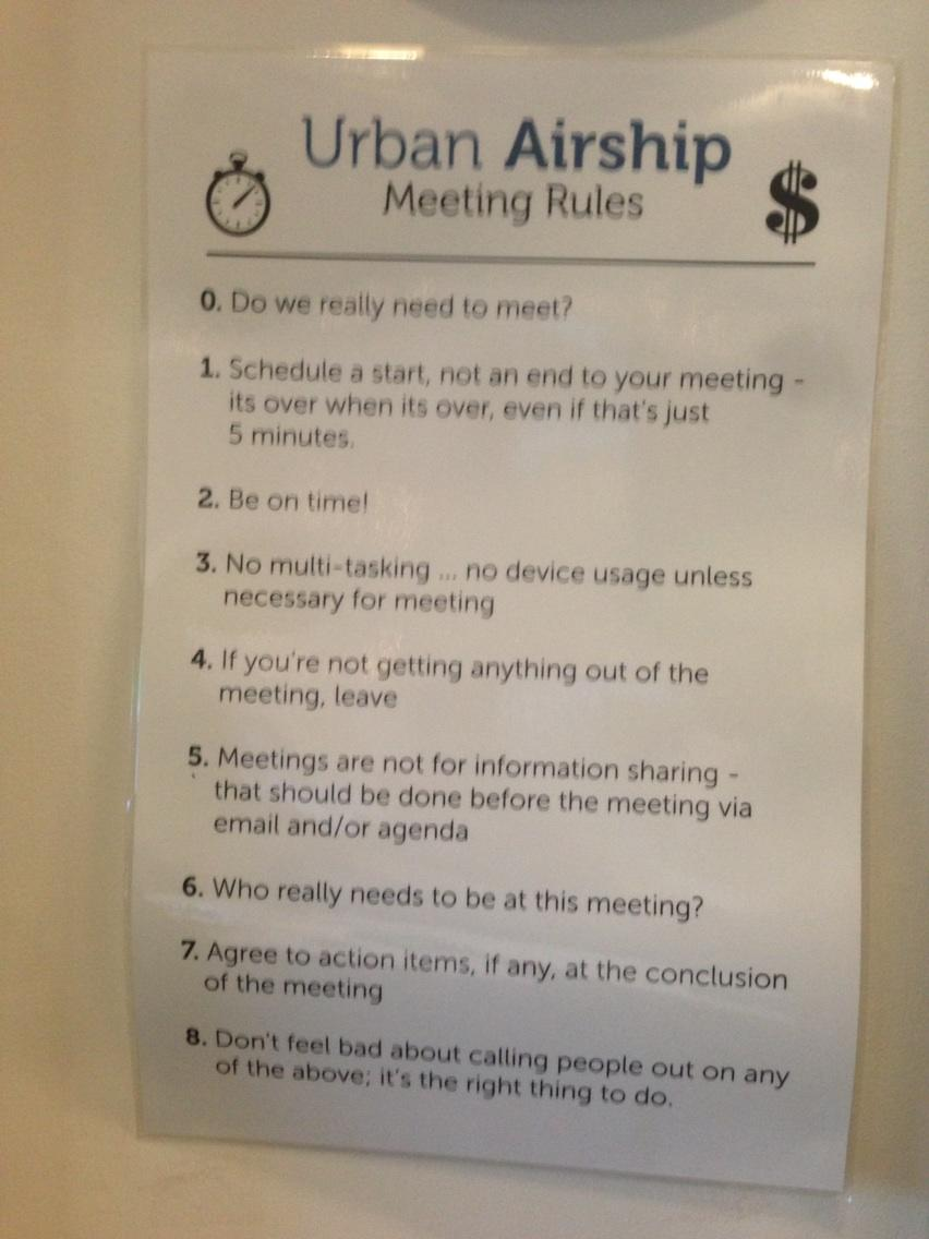 Urban Airship Meeting Rules h/t Jason Mendelson
