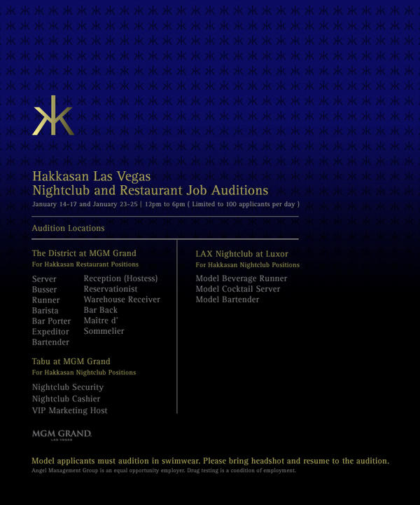 #WeAreHiring Auditions for @HakkasanLV will continue on Jan. 23-25 from 12-6 PM! Limited to 100 applicants per day! http://t.co/ZQAi4nLg