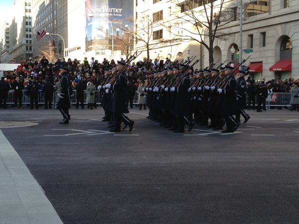 The Marine Corps follows in tight formation, a signature trait of their parade performances: http://t.co/gQozjbDB