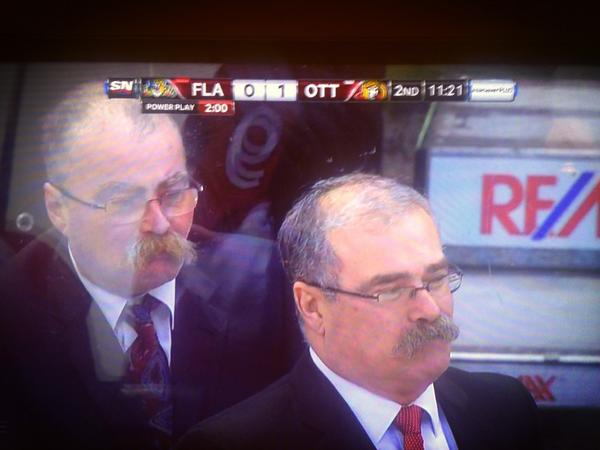 "Seein double? Hilarious... ""@edgYY61: Paul McLean was nice enough to give his brother seats by the bench #familystache http://pic.twitter.com/uzV9yHKh"""