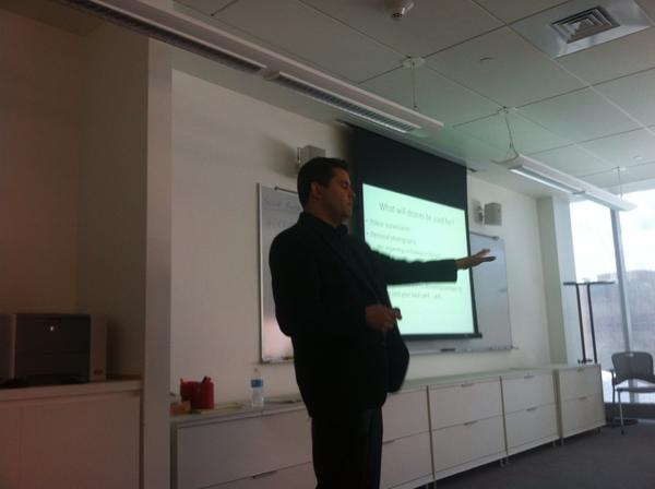 Endowed chair @pachecod  giving his presentation on drones in journalism. #newdrone http://pic.twitter.com/vnXqskcY