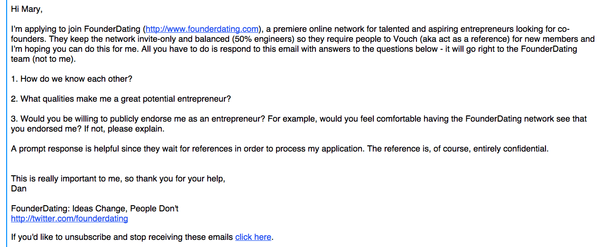 Founderdating email