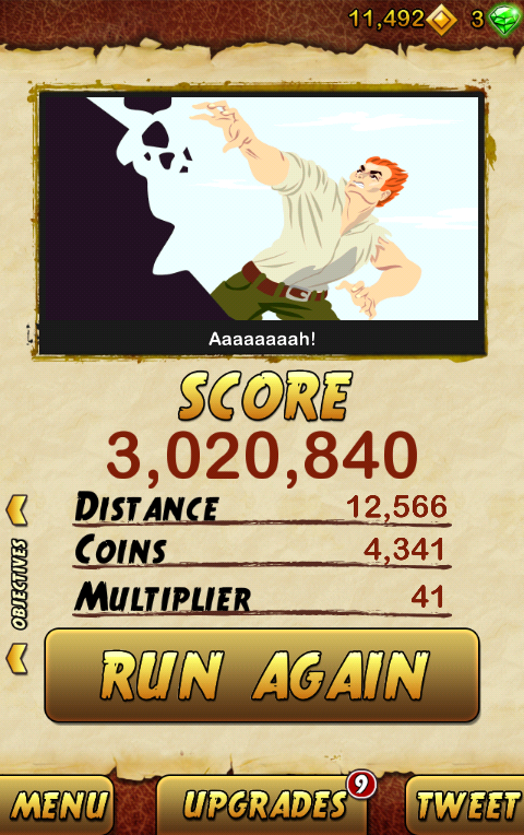 My high score in Temple Run 2. Courtesy: Twitter/Atulmaharaj