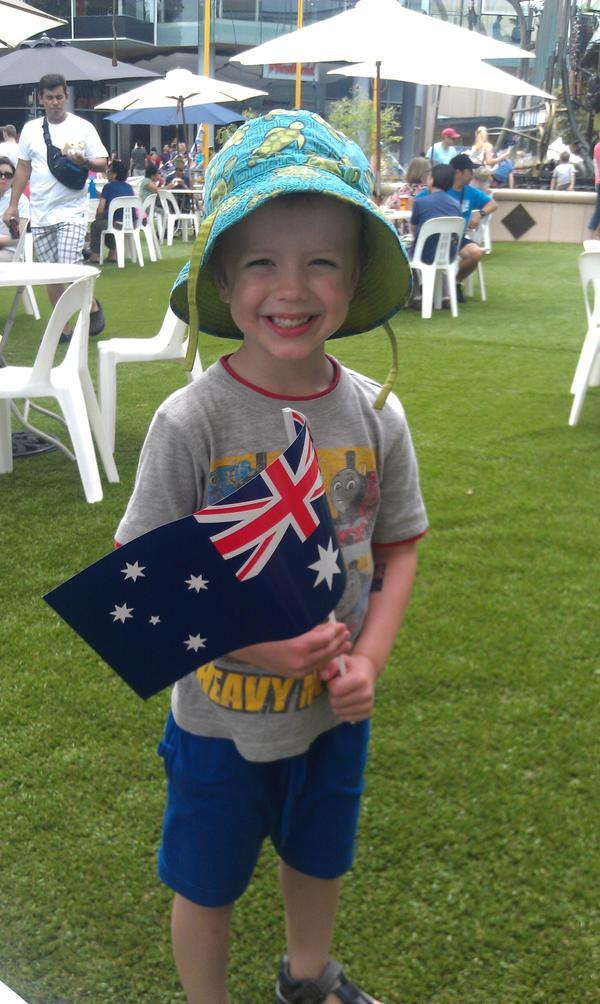 His first #AustraliaDay! Thanks @HornsbyCouncil - A great time was had by all! #ozdayabc @abcnews @paulthornley http://pic.twitter.com/ygldvumQ