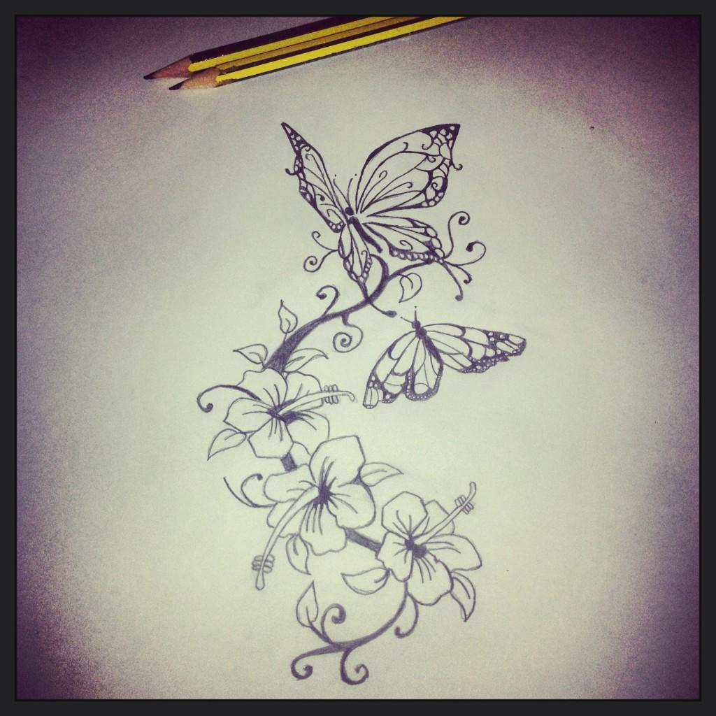 "Lewis James on Twitter ""Butterflies and flowers tattoo design for girls"