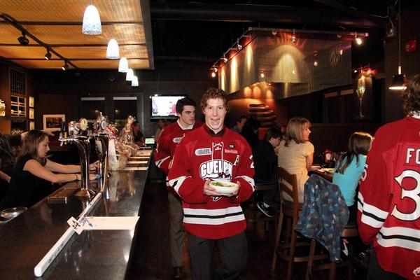 Served by the Storm tonight at Bobby O'Briens! Looks like @BrockMcGinn21 is pumped!