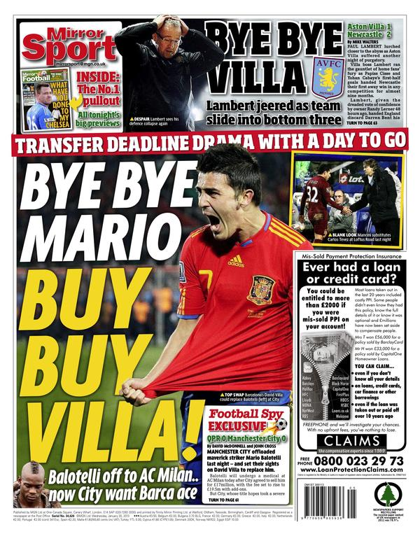 Arsenal bid £8m for Villa (Times) but Man City want Barca striker to replace Balotelli (Mirror)