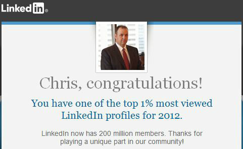 Interesting stat, I have one of the top 1% most viewed @LinkedIn profiles for 2012. http://www.linkedin.com/pub/profile/4/854/931?trk=200tw http://pic.twitter.com/F7Xa5MIW