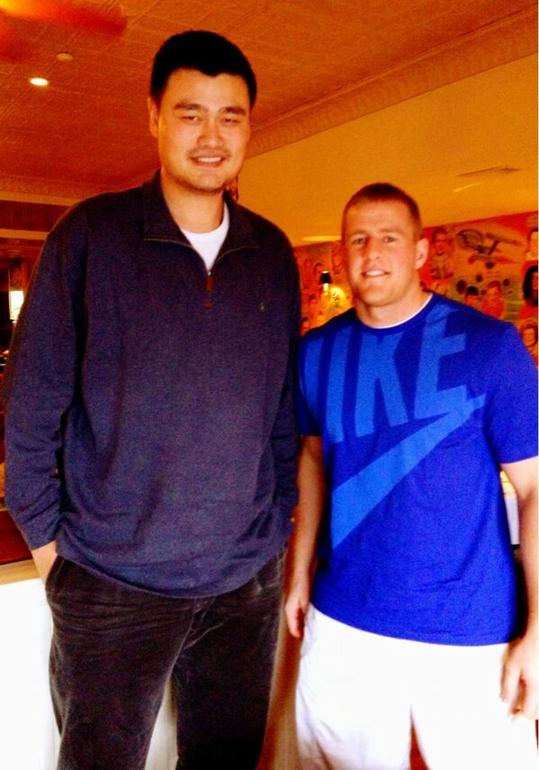 """JJ Watt on Twitter: """"Great lunch with @YaoMing today. Have ..."""