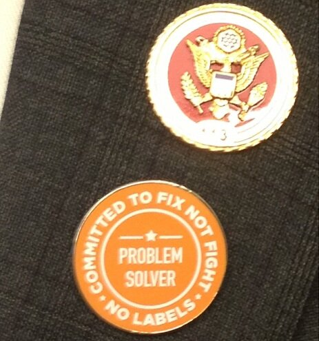 Wearing my @NoLabelsOrg problem solvers pin 2night for #SOTU. It's past time for Washington to #FixNotFight. http://pic.twitter.com/ntPnelLc