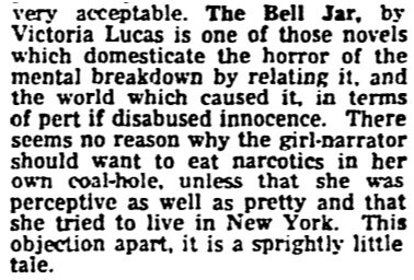 Lots of discussion about Sylvia Plath's The Bell Jar today. 1st Guardian review was 1 Feb 1963 exactly 50 years today! http://pic.twitter.com/WMxLpFcb