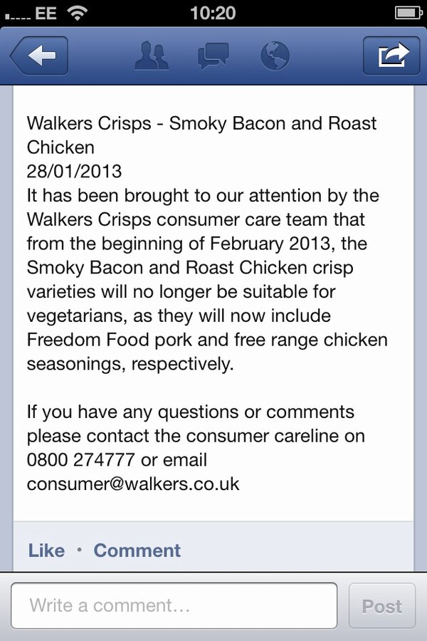 Walkers backtrack on vegan status