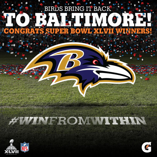 RT @Gatorade: Never count out the underdog! Congratulations to the #SB47 Champion #Ravens! http://pic.twitter.com/Jm4DFGQq