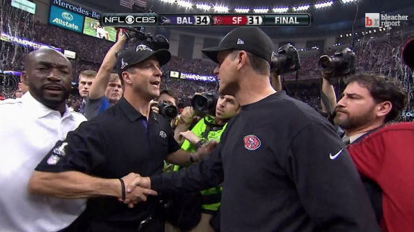 RT @BleacherReport: John and Jim Harbaugh shake hands following older brother John's 34-31 victory in Super Bowl XLVII http://pic.twitter.com/K1AySOYV