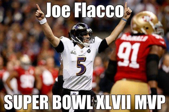 RT @ESPNNFL: Congrats to Joe Flacco, Super Bowl XLVII MVP -- #ELITE -- http://pic.twitter.com/4mE7cyqG