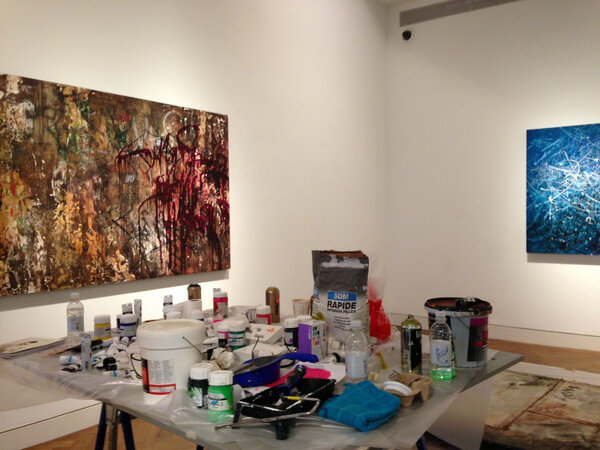 Getting ready for  José Parlá: Broken Language private view tomorrow evening!!