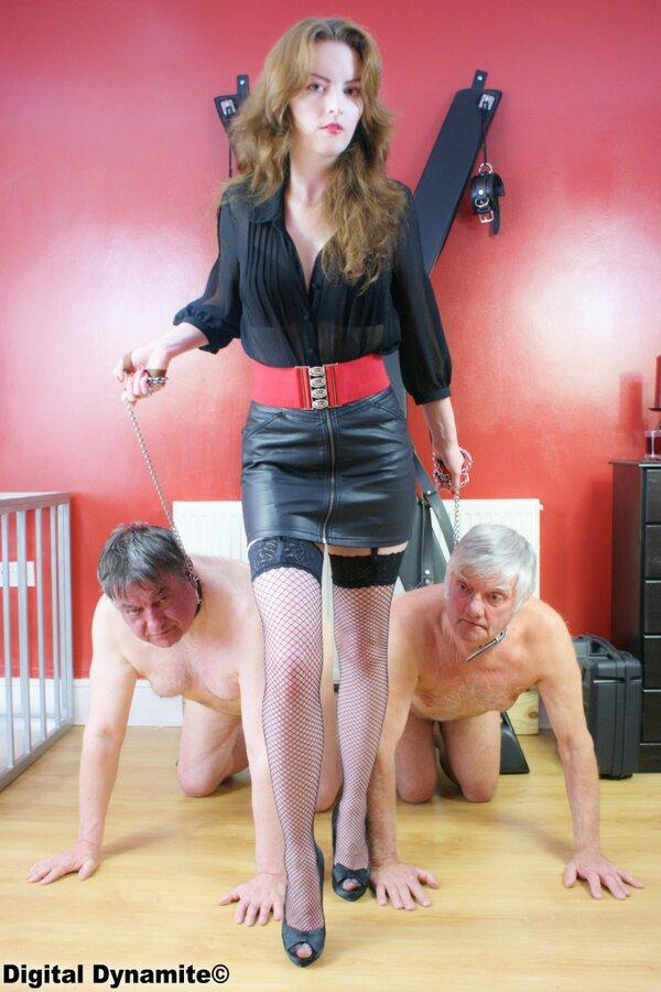 Femdom slave leash