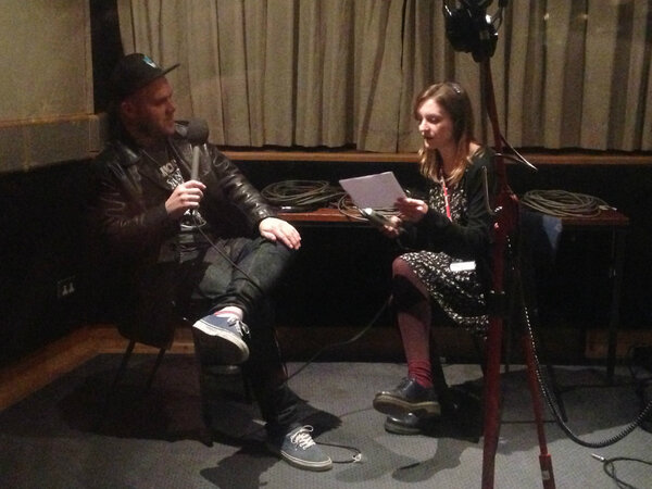 Interview with Matt from @the_bronx being done in the voice booth (cos it's less noisy in there!) #AAA http://pic.twitter.com/ec5fymaK