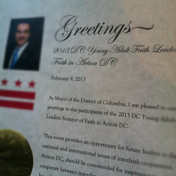Just picked up something special from the Wilson Bldg! Thanks @mayorvincegray! See you Sat at #DCFaith Summit! http://pic.twitter.com/OZvrBqHo