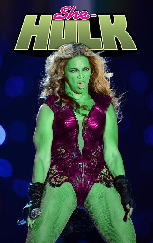 RT @SullivanROUAUD: Beyonce - She Hulk, même combat. C'est pas beau de se moquer, mais au moins c'est drôle ! http://pic.twitter.com/Q5RGI9I7