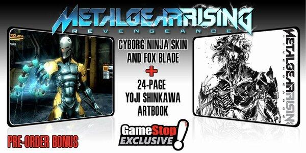 RT @Konami: Pre-order #MGRising from @GameStop to get Cyborg Ninja skin & exclusive Yoji Shinkawa art book http://bit.ly/Van9v1 http://pic.twitter.com/bnlG6NpT