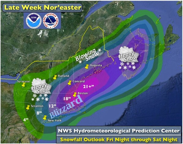 MAJOR #BLIZZARD expected for #Boston and #NYC areas for Friday into Saturday. #NWS #WRN #nywx #mawx http://pic.twitter.com/2xHTKA3d