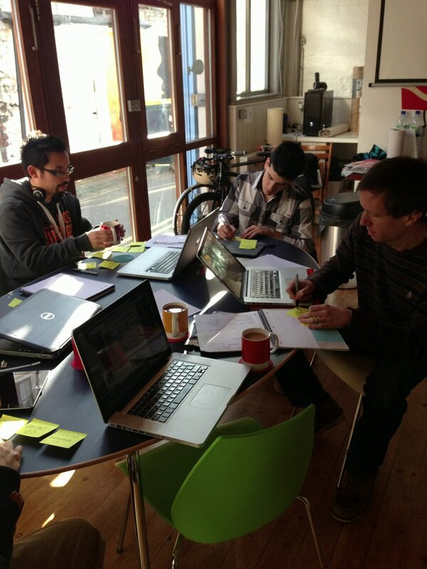 Building an app in a day, go us! RT @BeachheadApp: Drawing up a basic feature list and user stories #agile #startups http://pic.twitter.com/cuNrwwpX