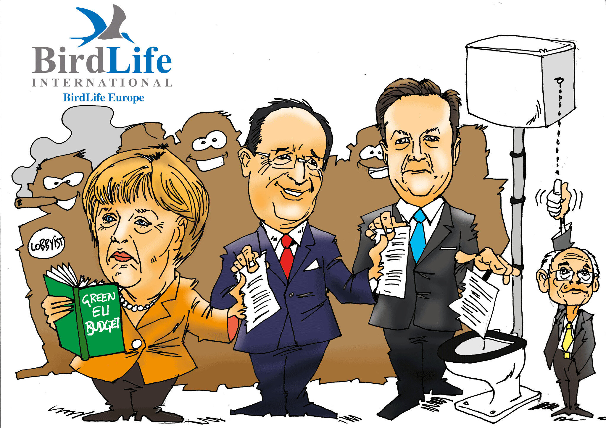 BirdLife Europe: EU citizens betrayed by Heads of State under heavy influence from the green-wash lobby, cartoon