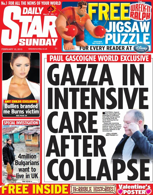 Terrible news: Paul Gascoigne in intensive care, according to Sunday papers