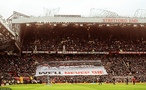 Man United unveil Well Never Die banner in honour of Munich victims