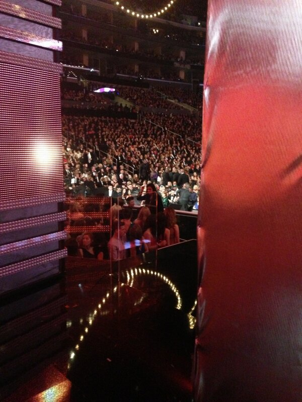 About to go onstage for the Grammys! This is my view from backstage. http://pic.twitter.com/fmeabxhU