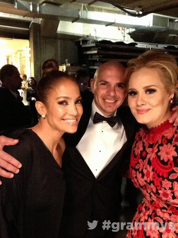 About to hit the stage! #grammys with @officialadele @jlo @pitbull http://pic.twitter.com/V5cbTf4V