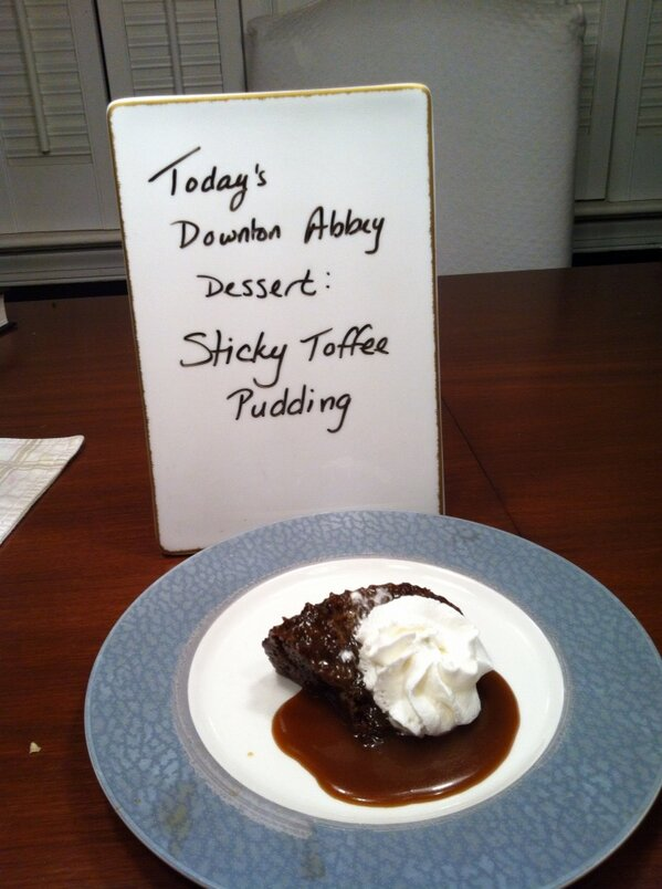 Tonight's dessert: Sticky Toffee Pudding #DowntonPBS http://pic.twitter.com/H24wPpZb