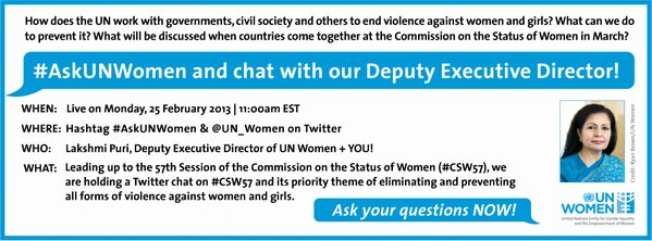 #AskUNWomen Twitter chat with Ms. Lakshmi Puri on #CSW57 & ending #violenceagainstwomen! http://sfy.co/jFUx http://pic.twitter.com/4TJbOJzIsk