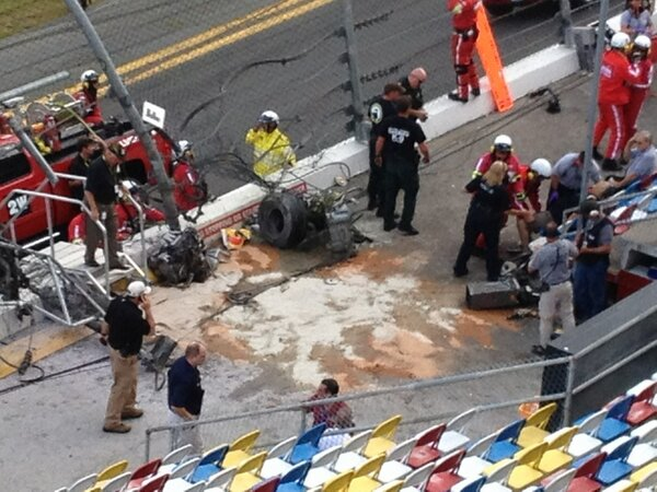 Just in: New eyewitness photo of debris in stands at Daytona Beach following wreck - http://pic.twitter.com/oOoGoeSmBo via @tk1300