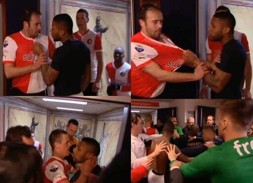 Jeremain Lens (PSV) waits for Joris Mathijsen (Feyenoord) in the tunnel, a fight breaks out