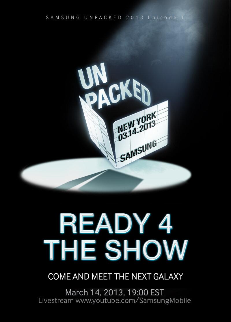 """""""Reday 4 the show"""" - Samsung präsentiert das Galaxy S4 am 14. März in New York - veröffentlichtes Bild bei Twitter unter @samsungmobile"""