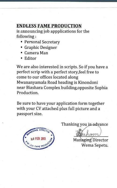 Kampuni mpya ya Wema Sepetu, Endless Fame Films,
