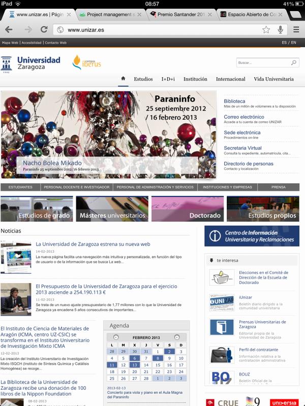 La nueva página de la Universidad de Zaragoza. Felicidades @_carletex_  y Guillermo (@gulaco10) http://pic.twitter.com/3mWJu069