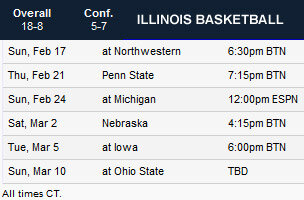 Illini basketball remaining schedule