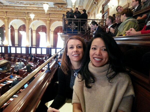 Mercedes and Theresa are spending Valentine's Day in Springfield, hoping for a good vote on marriage today. #ILove http://pic.twitter.com/kecusmsV