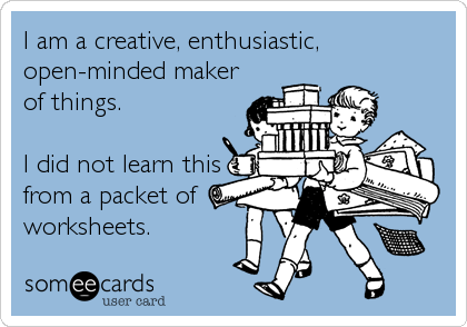 """RT @MrPowersCMS: RT """"@tra_hall: Death to Worksheets!#txed #edchat #txidea http://pic.twitter.com/DXWChmN3"""" #moedchat Love it!"""